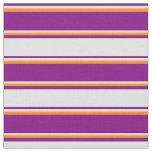 [ Thumbnail: Purple, Lavender & Dark Orange Stripes Fabric ]