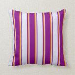 [ Thumbnail: Purple, Lavender & Dark Orange Stripes Pillow ]