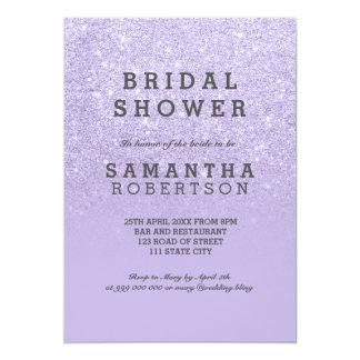 Purple lavender faux glitter bridal shower card