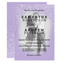 Purple lavender faux glitter ombre photo wedding invitation