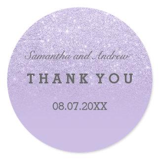 Purple lavender faux glitter ombre thank you classic round sticker