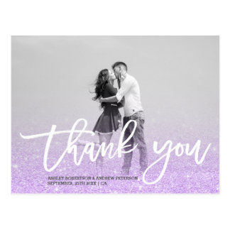Purple lavender faux glitter photo thank you postcard