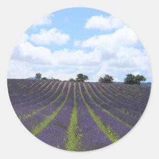 Purple lavender fields near Sault Classic Round Sticker