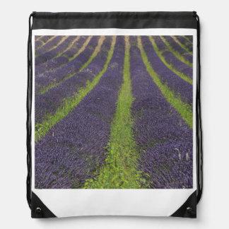 Purple lavender fields near Sault Drawstring Backpack