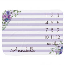 Purple Lavender Floral Baby Girl Monthly Milestone Baby Blanket