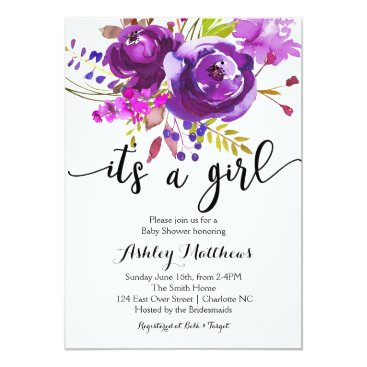 Toddler & Baby themed Purple Lavender Floral Baby Shower Invitation