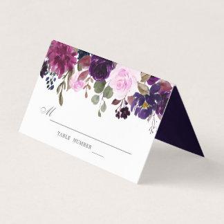 Purple Lavender Floral Boho Wedding Place  Card