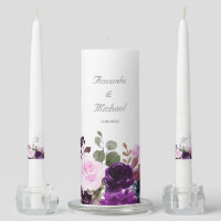 Purple Lavender Floral Boho Wedding unity candle