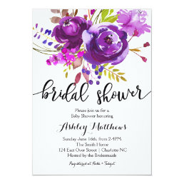 Purple Lavender Floral Bridal Shower Invitation