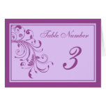 Purple & Lavender Floral Curls Wedding Table Cards Cards