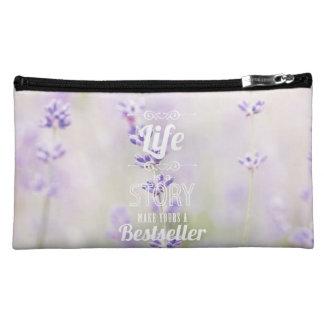 purple lavender floral flower inspirational quote makeup bags