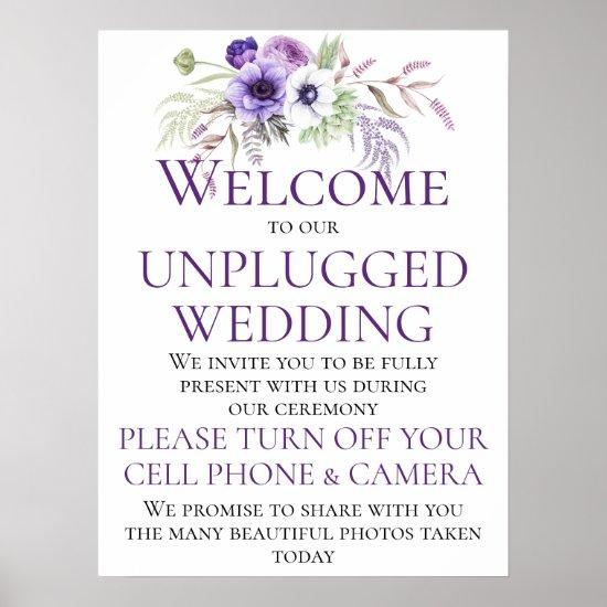 Purple Lavender Floral Unplugged Wedding Ceremony Poster