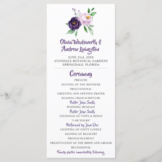 Purple & Lavender Floral Wedding Program