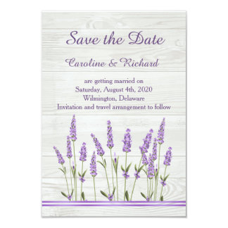Purple lavender flowers on wood  Save the Date Card