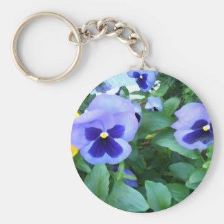 Purple Lavender Garden Pansies Flowers Floral Keychains