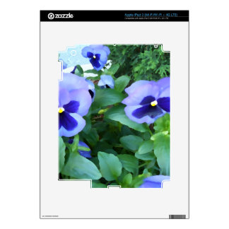 Purple Lavender Garden Pansies Flowers Floral Decals For iPad 3