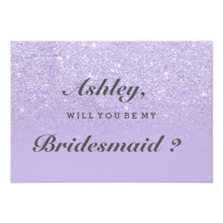 Purple lavender glitter ombre be my bridesmaid card