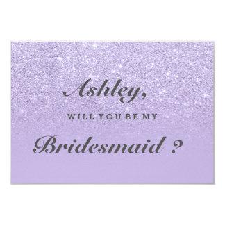 Purple lavender glitter ombre be my bridesmaid invitation