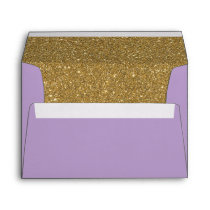 Purple Lavender & Gold Glitter Lined Envelope