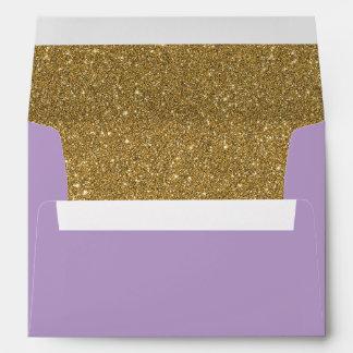 Purple Lavender & Gold Glitter Lined Envelope
