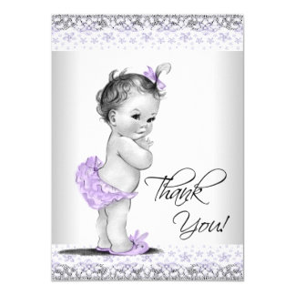 Purple Lavender Gray Baby Shower Thank You Card