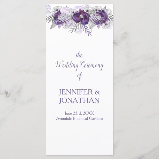 Purple Lavender Gray Floral Wedding Program