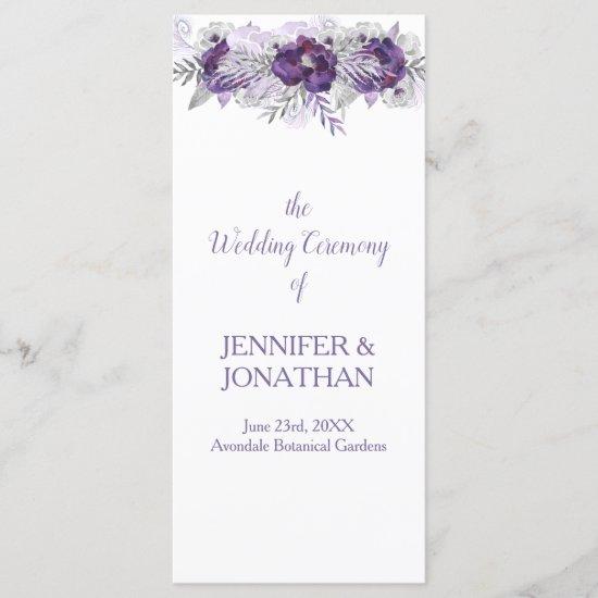 Purple Lavender Gray Floral Wedding Program