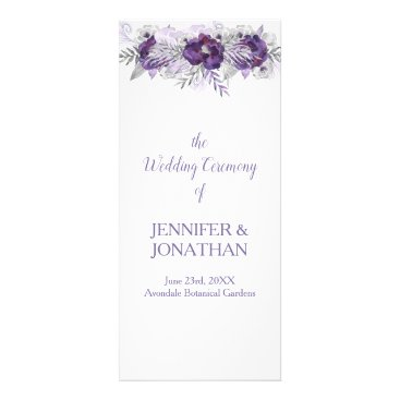 Wedding Themed Purple Lavender Gray Floral Wedding Program