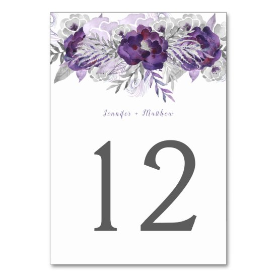 Purple Lavender Gray Watercolor Floral Table | Table Number