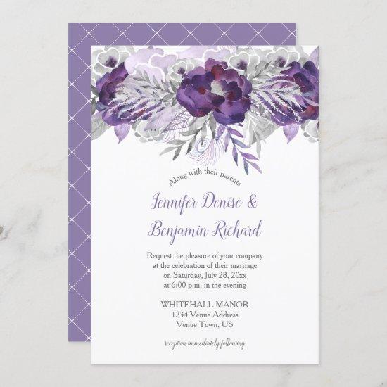Purple Lavender Gray Watercolor Flowers Invitation