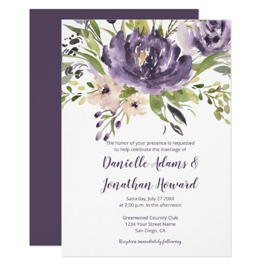 Purple Lavender Green Watercolor Peonies Wedding Invitation