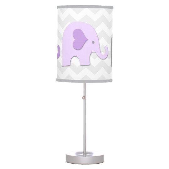 Purple Lavender Grey Elephant Nursery Lamp