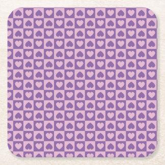 Purple Lavender Heart Design Square Paper Coaster