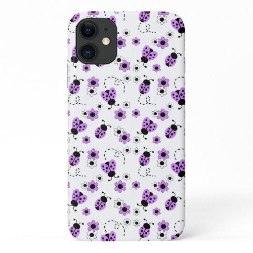 Purple Lavender Ladybug Ladybird Floral Girl iPhone 11 Case