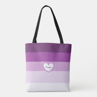 Purple Lavender Layers Personalized Name Tote Bag