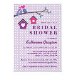Purple Lavender Love Birds Polka Dots Invitation