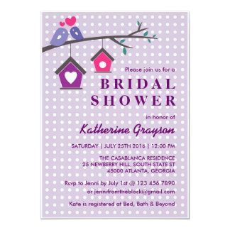 Purple Lavender Love Birds Polka Dots Invitation