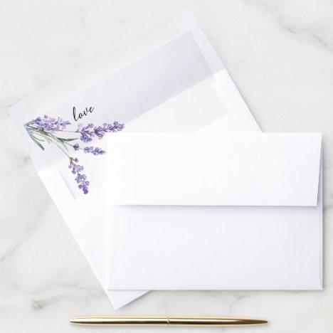 Purple Lavender Love Wedding Envelope Liner