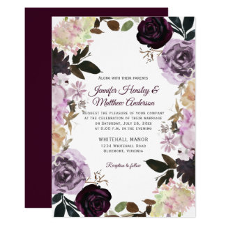 Purple Lavender Mauve White Floral Wreath Wedding Invitation