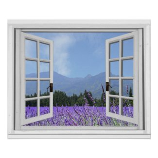 Purple Lavender Meadow Garden View Fake Window Poster