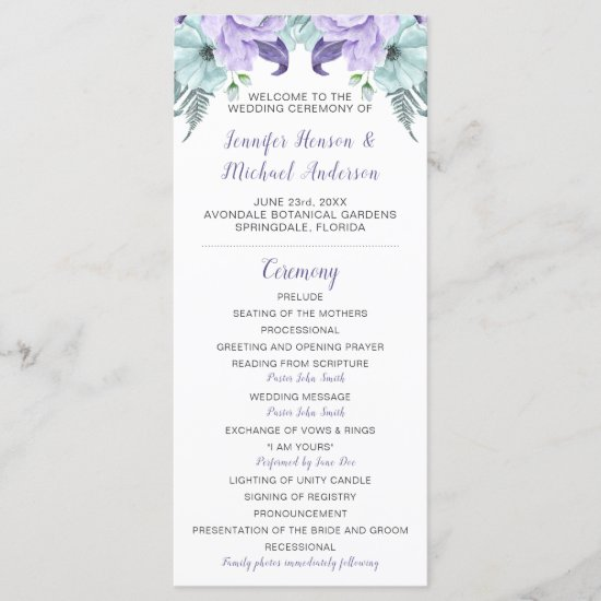 Purple Lavender Mint Floral Wedding Program