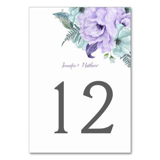 Purple Lavender Mint Watercolor Peonies Table | Table Number