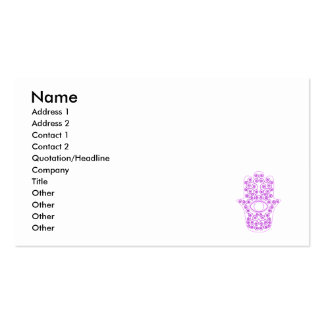 Purple Lavender Outline Hamsa-Hand of Miriam-Hand Double-Sided Standard Business Cards (Pack Of 100)