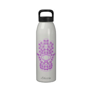 Purple Lavender Outline Hamsa-Hand of Miriam-Hand Reusable Water Bottle