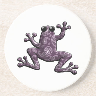 Purple Lavender Paisley Frog Beverage Coasters