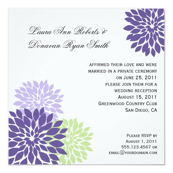 Purple Lavender Pale Green Flower Petals Post Wedd Invitation