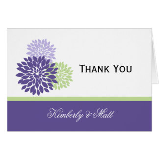 Purple Lavender Pale Green Petals Thank You Stationery Note Card