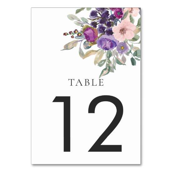Purple Lavender Peach Mauve Watercolor Flowers Table Number