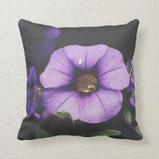 Purple Lavender Petunia Flower Blossoms Throw Pillow