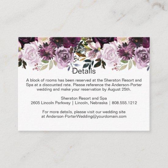 Purple Lavender Pink Floral Spray Enclosure Cards